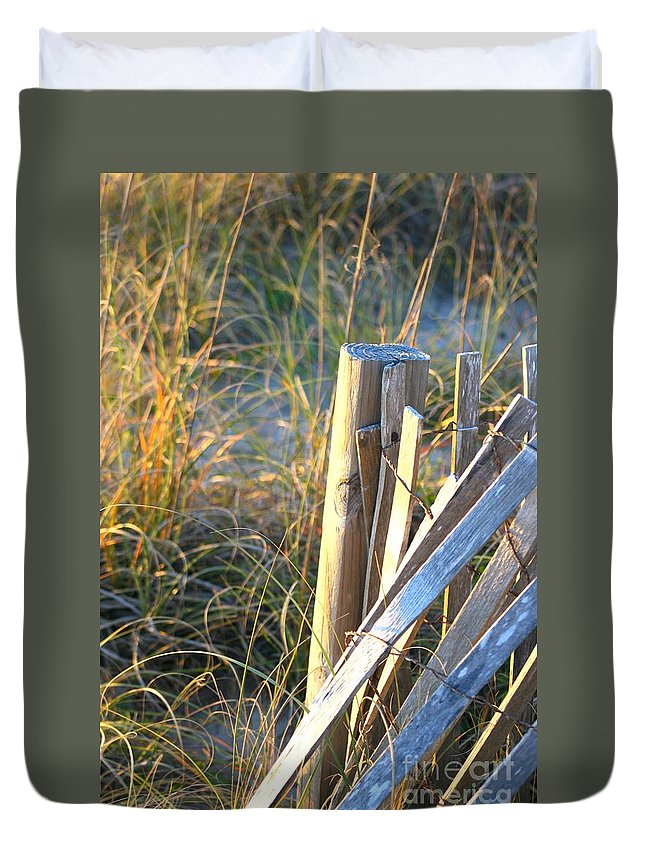 Post Duvet Cover featuring the photograph Wooden Post And Fence At The Beach by Nadine Rippelmeyer
