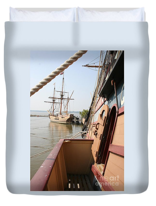 Ship Duvet Cover featuring the photograph Wooden Sailingships by Christiane Schulze Art And Photography