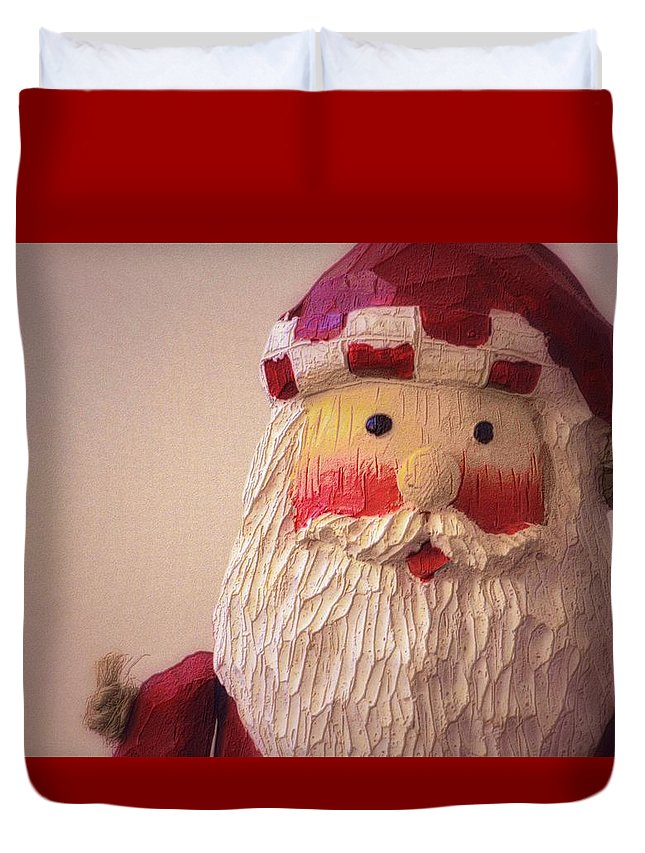 Christmas Duvet Cover featuring the photograph Wooden Toy Santa by Nadalyn Larsen
