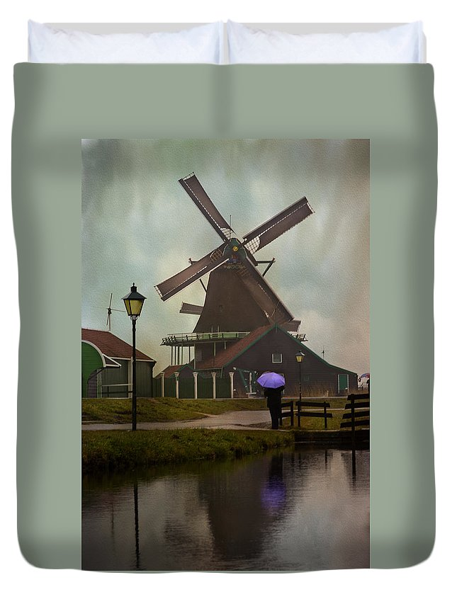 Antique Duvet Cover featuring the photograph Wooden Windmill In Holland by Juli Scalzi