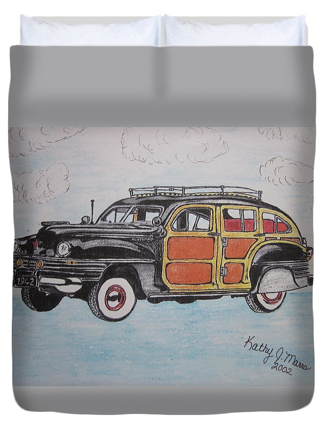 Woodie Duvet Cover featuring the painting Woodie Station Wagon by Kathy Marrs Chandler