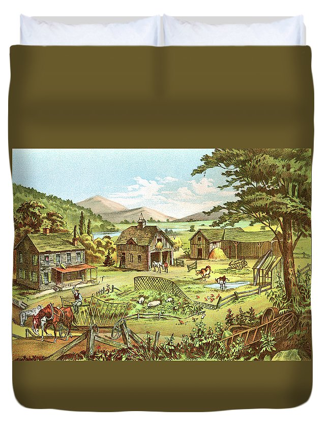 Horse Duvet Cover featuring the digital art Woodland Home Ten Years Later In Hands by Nnehring