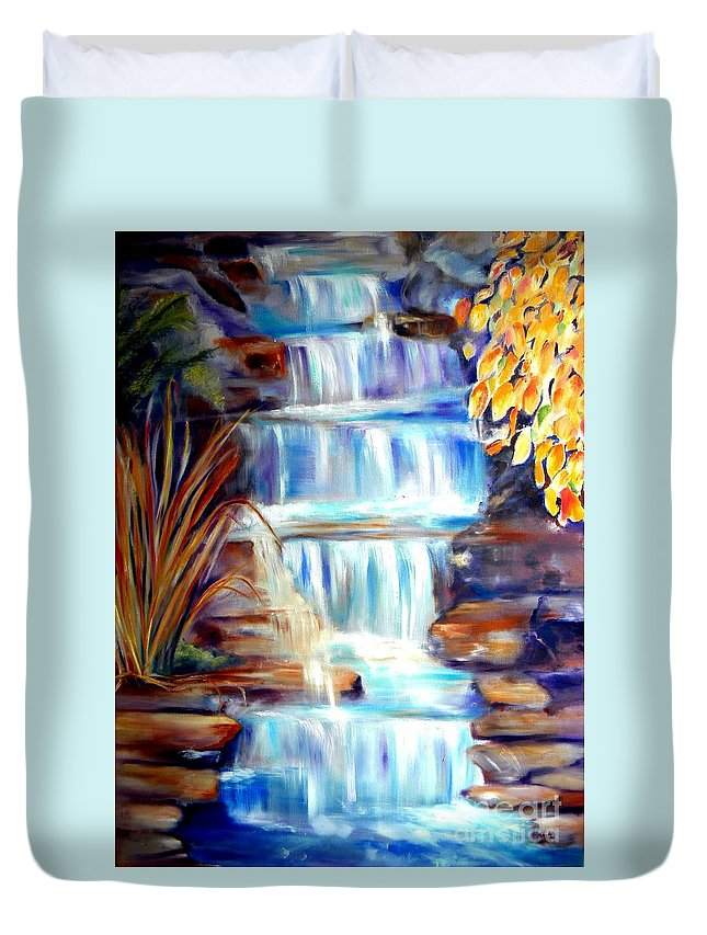Waterfall Duvet Cover featuring the painting Woodland Oasis by Sandy Ryan