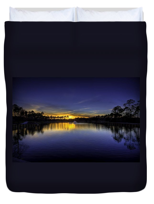 St James Duvet Cover featuring the photograph Woodland Park Sunset by Nick Noble