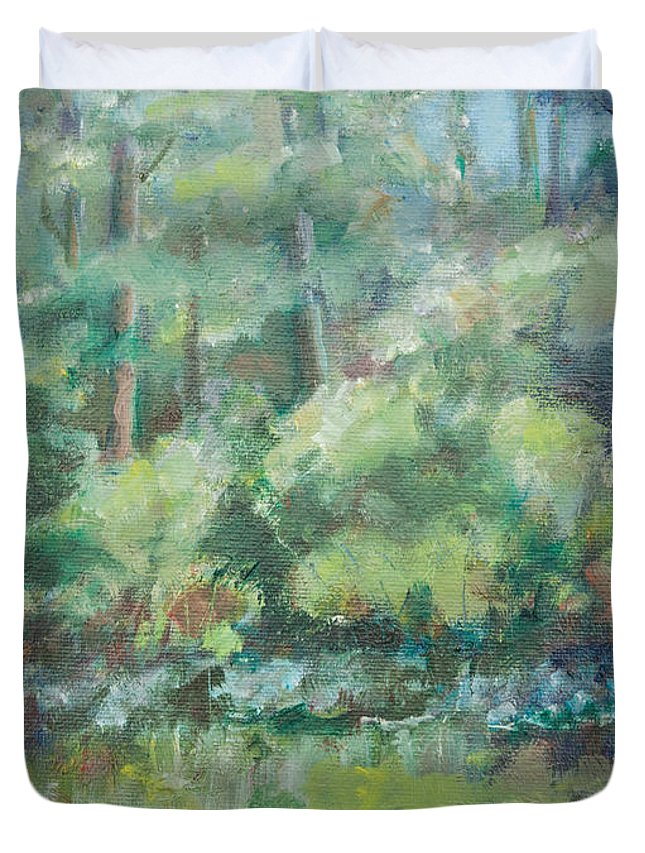 Woods Duvet Cover featuring the painting Woodland Pond by Sarah Parks