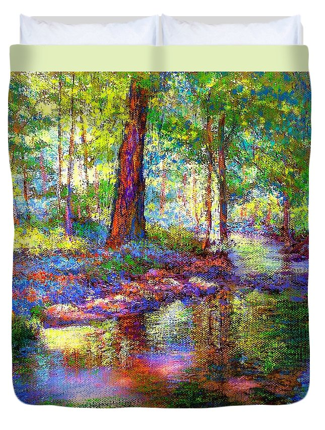 Forest Duvet Cover featuring the painting Woodland Rapture by Jane Small