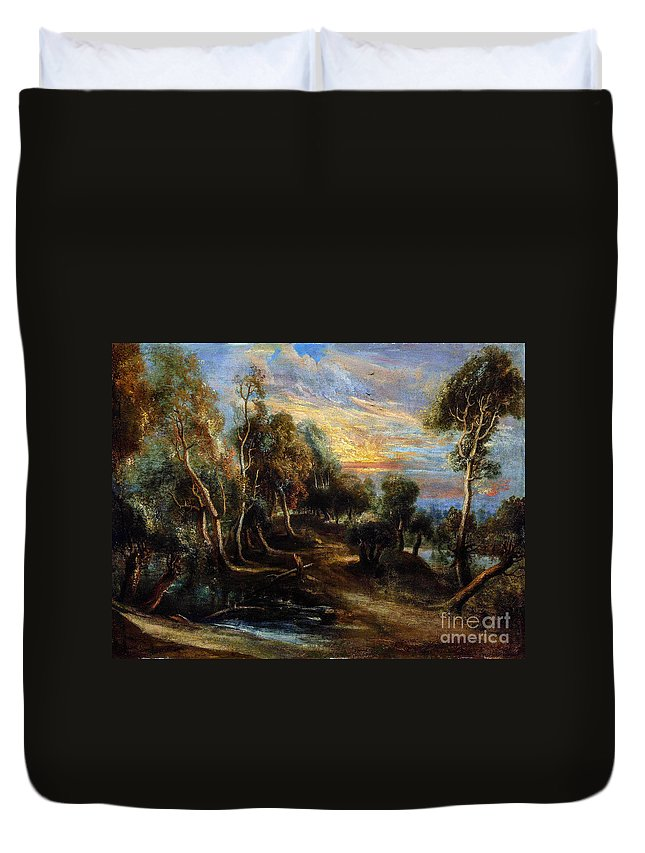 Woodland Duvet Cover featuring the painting Woodland Scenery by Viktor Birkus