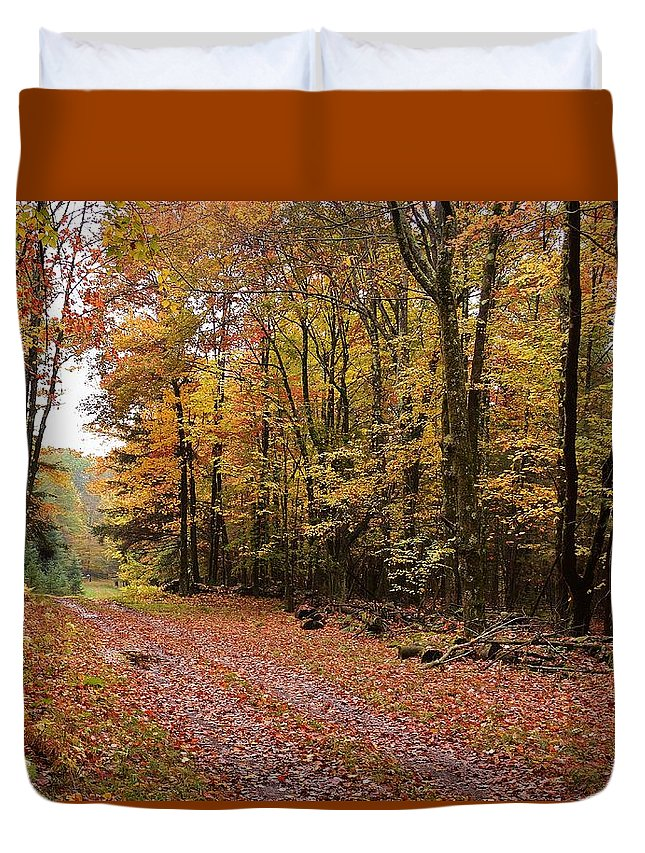 Landscape Duvet Cover featuring the photograph Woods walk by Lisa Kane