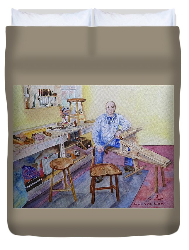Woodworker Duvet Cover featuring the painting Woodworker Chair Maker by Anna Ruzsan