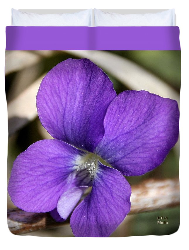 Woody Blue Violet Duvet Cover featuring the photograph Woody Blue Violet by Eric Noa