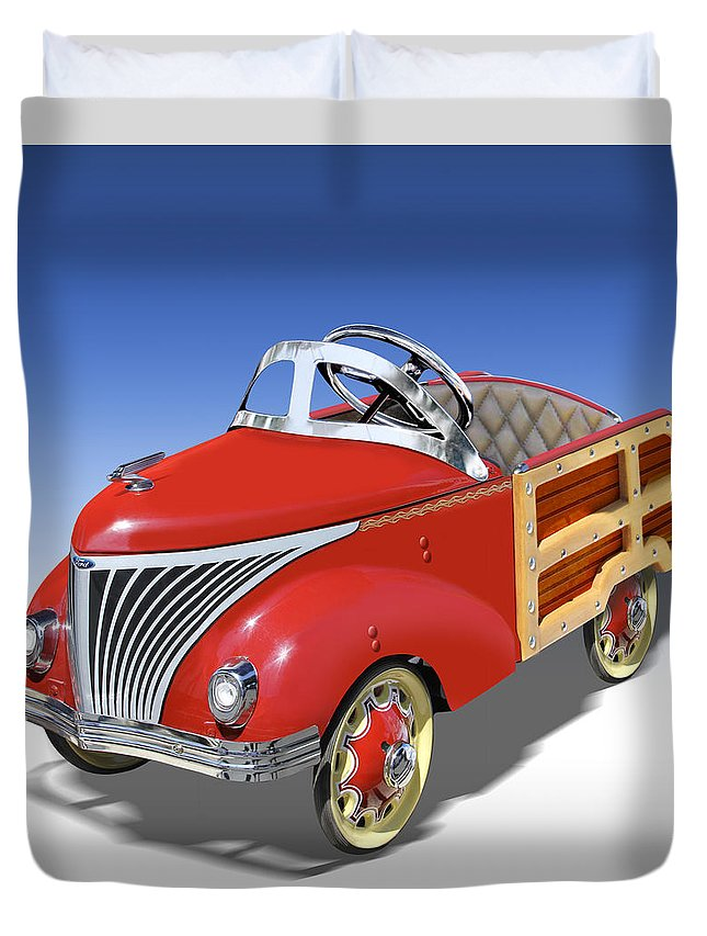 Peddle Car Duvet Cover featuring the photograph Woody Peddle Car by Mike McGlothlen