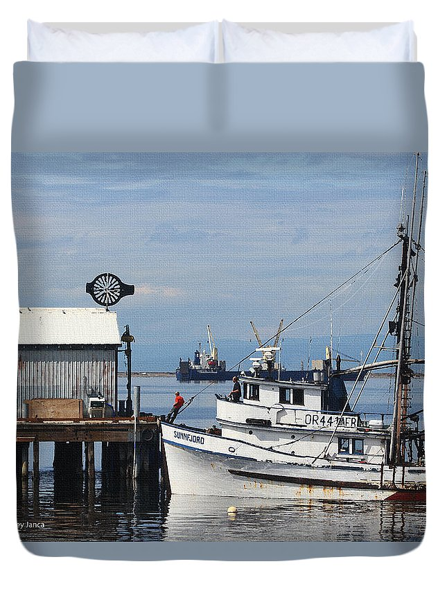Working Boats Duvet Cover featuring the digital art Working Boats by Tom Janca