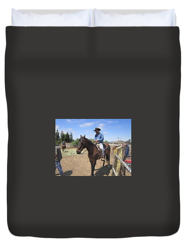 Cowboy Duvet Cover featuring the photograph Working Cowboy by Steve Scheunemann