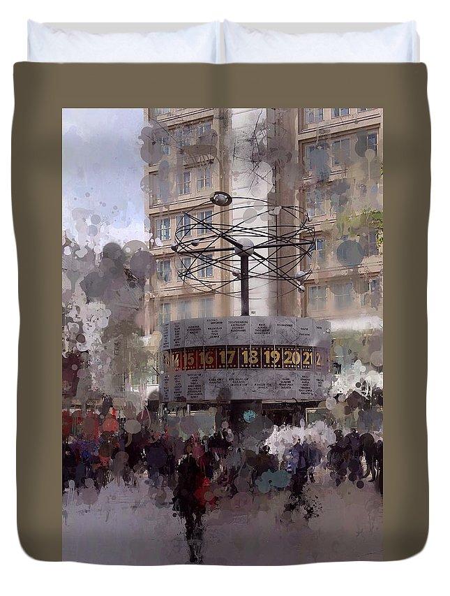 World Time Clock Berlin Alexanderplatz Digital Art Duvet Cover featuring the digital art World Time Clock Berlin by Steve K