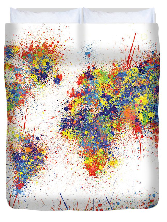 World Map Brush Paint Splatter Duvet Cover for Sale by Bekim M