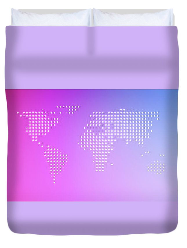 Panoramic Duvet Cover featuring the digital art World Map In Dots Against An Abstract by Ralf Hiemisch