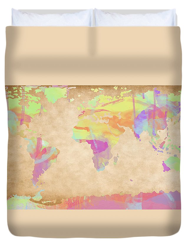 Feature Art Duvet Cover featuring the digital art World Map Pastel Watercolors by Paulette B Wright