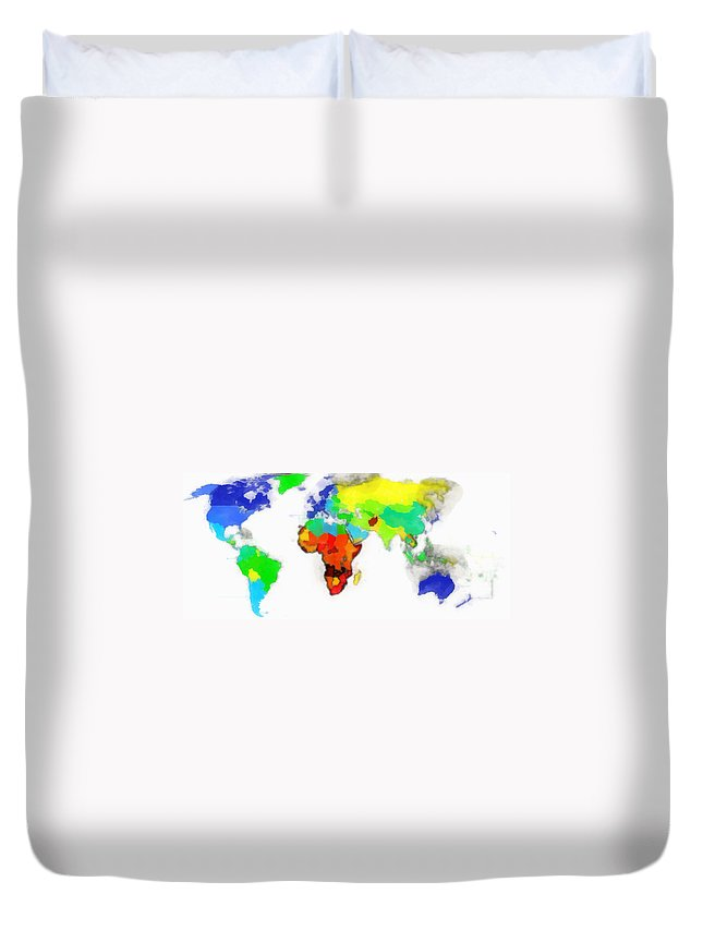 Map Of The World Digital Art Duvet Cover featuring the digital art World Map Wathercolor by Galeria Trompiz