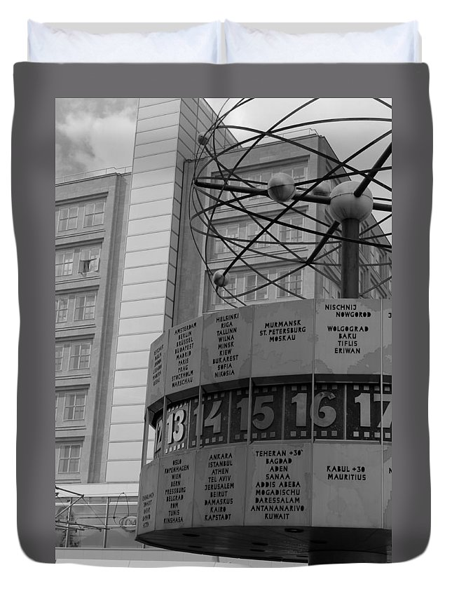 World Time Clock Berlin Germany East Gdr Alexanderplatz Photograph Bw Sw Duvet Cover featuring the photograph World Time Clock Berlin by Steve K