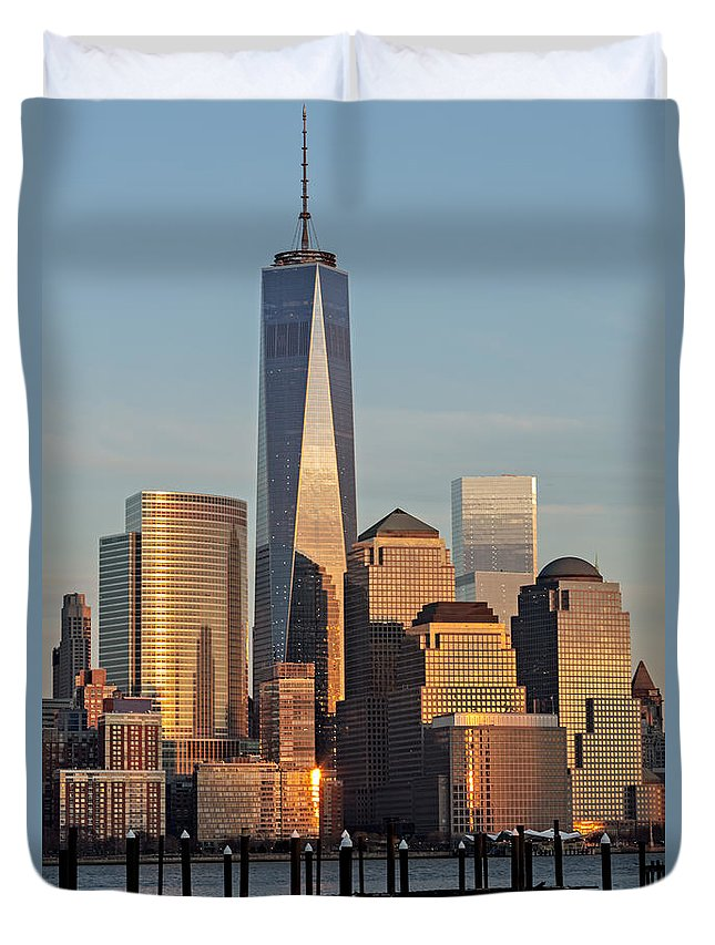 Financial District Duvet Cover featuring the photograph World Trade Center Freedom Tower Nyc by Susan Candelario