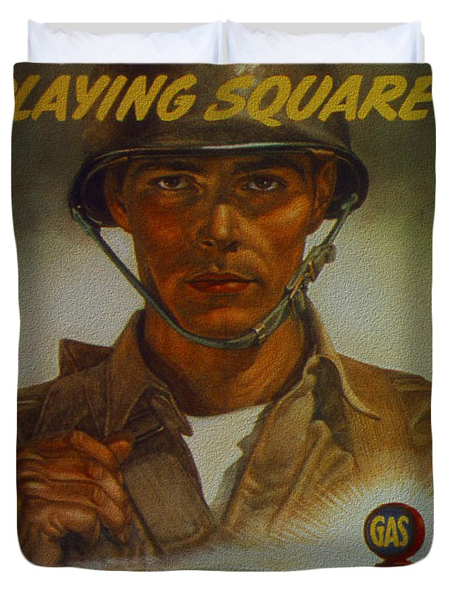 World Duvet Cover featuring the digital art World War II Military Poster Are You Playing Square by R Muirhead Art