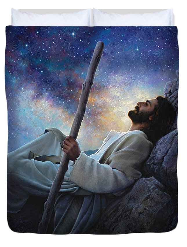 Jesus Duvet Cover featuring the painting Worlds Without End by Greg Olsen