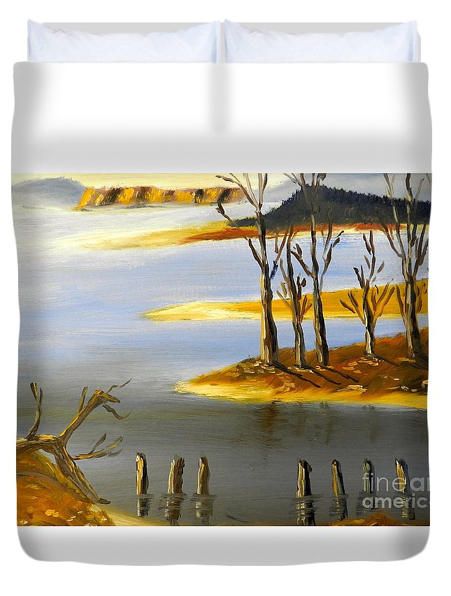 Impressionism Duvet Cover featuring the painting Woronorda Dam by Pamela Meredith