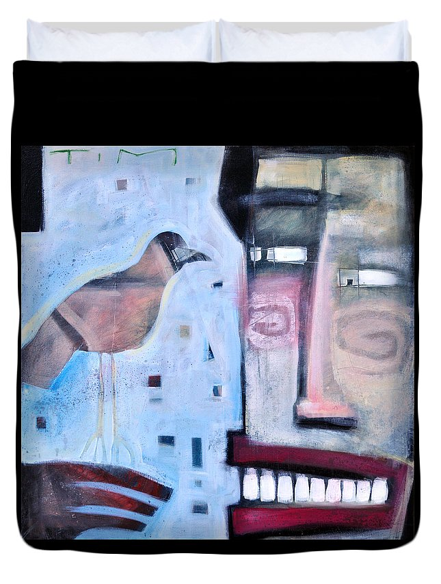Man Duvet Cover featuring the painting Worth Two... by Tim Nyberg