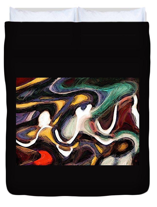 Woven Duvet Cover featuring the digital art Woven Through 2 by Gary Olsen-Hasek