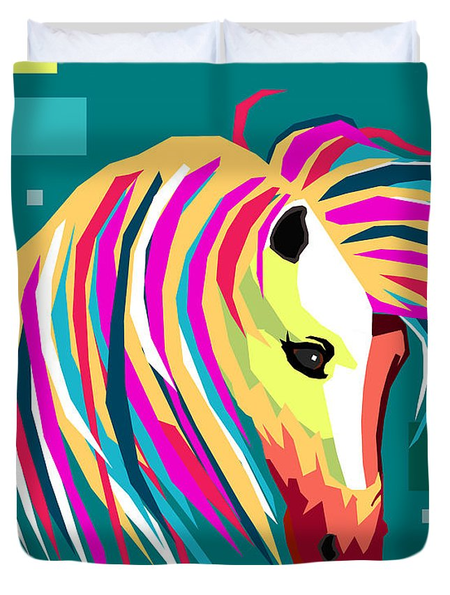 Wpap Duvet Cover featuring the painting Wpap Horse by Mark Ashkenazi