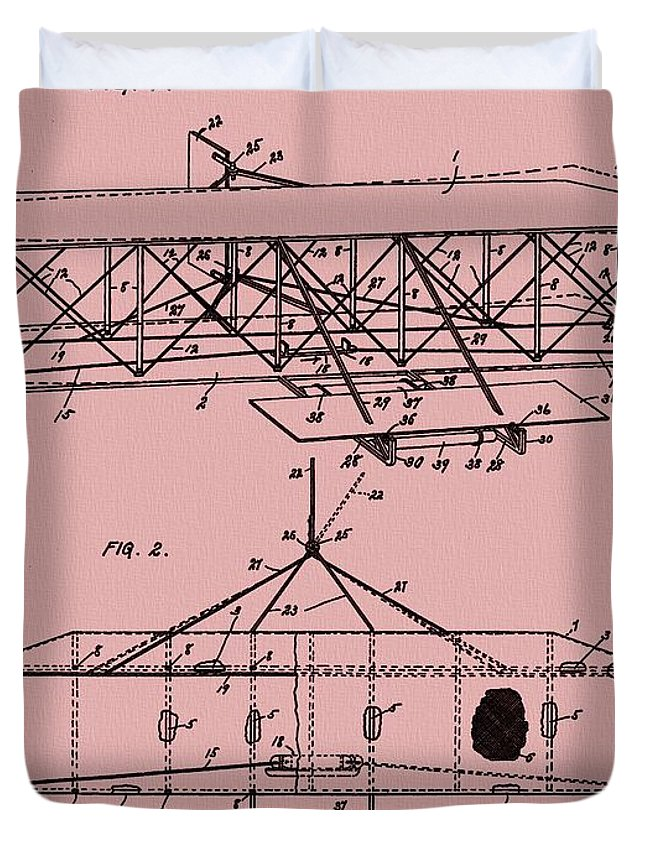 The Wright Brothers Airplane Patent Duvet Cover featuring the mixed media Wright Brothers Patent Red by Dan Sproul