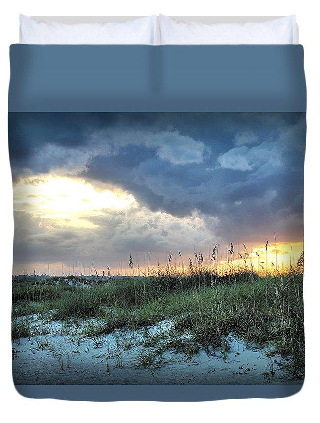 Wrightsville Beach Sunset Duvet Cover featuring the photograph Wrightsville Beach South End Sunset by Phil Mancuso