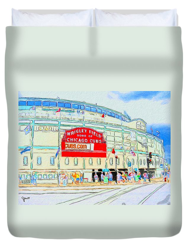 Wrigley Field Duvet Cover featuring the painting Wrigley Field Sketch by John Farr