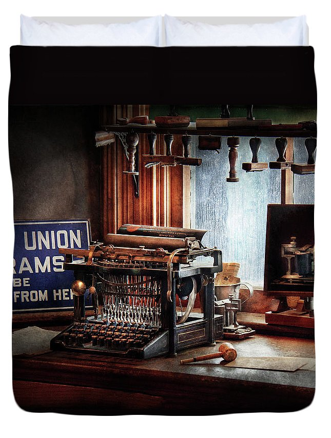 Hdr Duvet Cover featuring the photograph Writer - Typewriter - The Aspiring Writer by Mike Savad