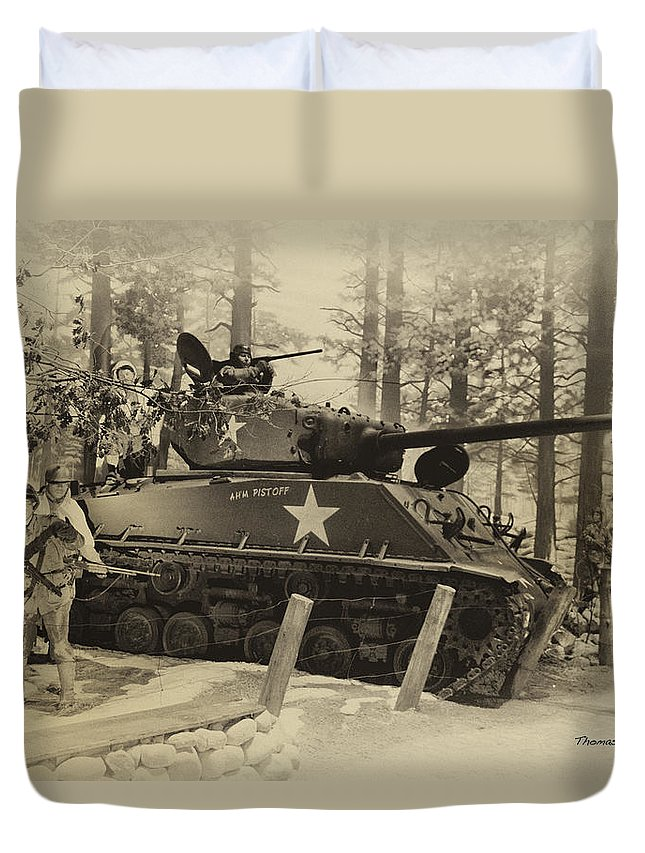 Us Army Duvet Cover featuring the photograph Ww II Battle Of The Bulge 02 by Thomas Woolworth