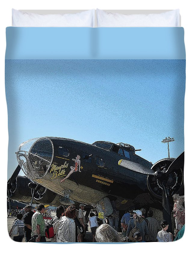 Military Aircraft Duvet Cover featuring the digital art Wwii Memphis Bell B17 by Michael Genova