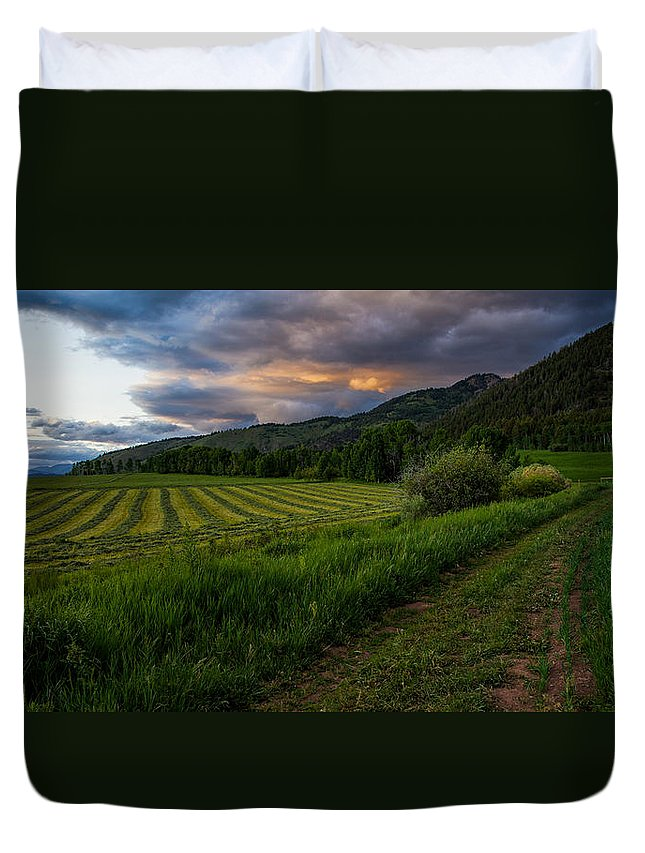 Star Valley Duvet Cover featuring the photograph Wyoming Pastures by Chad Dutson