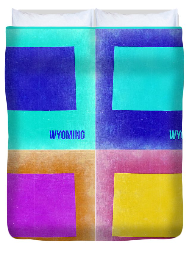 Wyoming Map Duvet Cover featuring the painting Wyoming Pop Art Map 2 by Naxart Studio