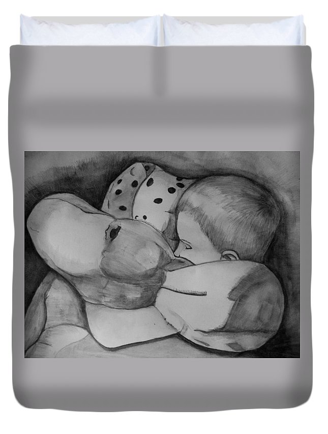 Justin Moore Duvet Cover featuring the drawing Xander Sleeping by Justin Moore