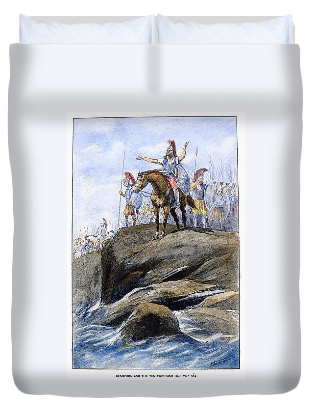 401 B.c Duvet Cover featuring the drawing Xenophon Anabasis by Granger