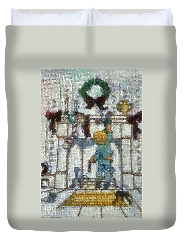 Stocking Duvet Cover featuring the photograph Xmas Little Boy With His Stocking Photo Art by Thomas Woolworth