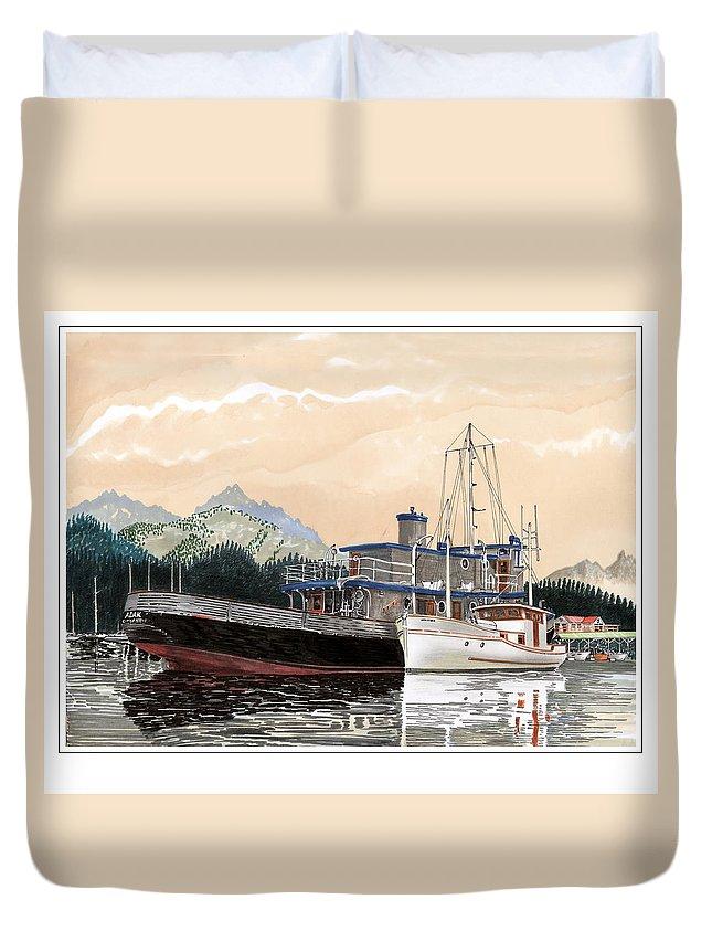 Yacht Portraits Duvet Cover featuring the painting Alaskan Sunrise by Jack Pumphrey