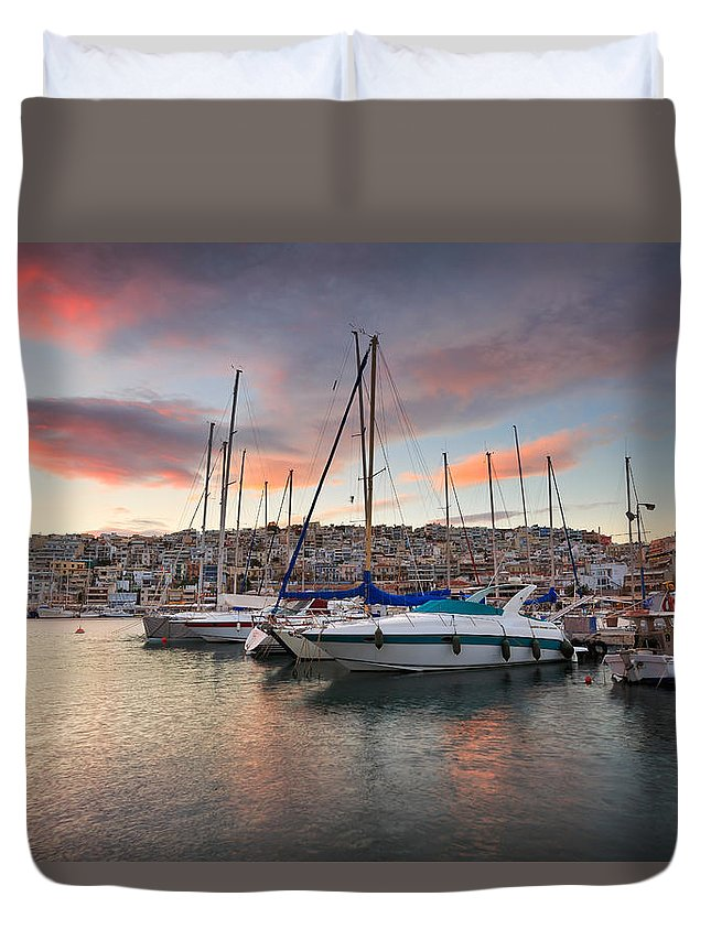 Greece Duvet Cover featuring the photograph yachts in Mikrolimano marina by Milan Gonda