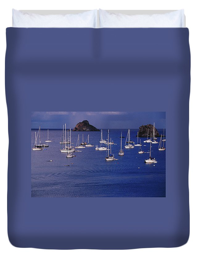 Sailboat Duvet Cover featuring the photograph Yachts Moored On The Caribbean Sea Near by Richard I'anson