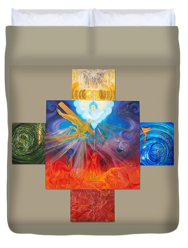 Christian Duvet Cover featuring the painting Yahweh El Shaddai by Anne Cameron Cutri