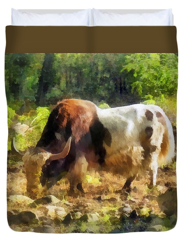 Yak Duvet Cover featuring the photograph Yak Having A Snack by Susan Savad