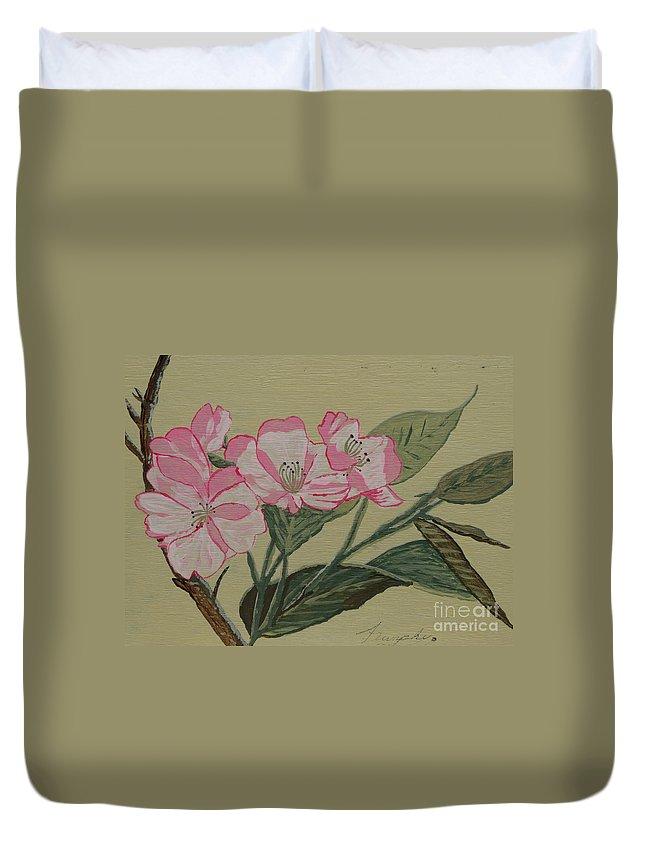 Yamazakura Duvet Cover featuring the painting Yamazakura Or Cherry Blossom by Anthony Dunphy