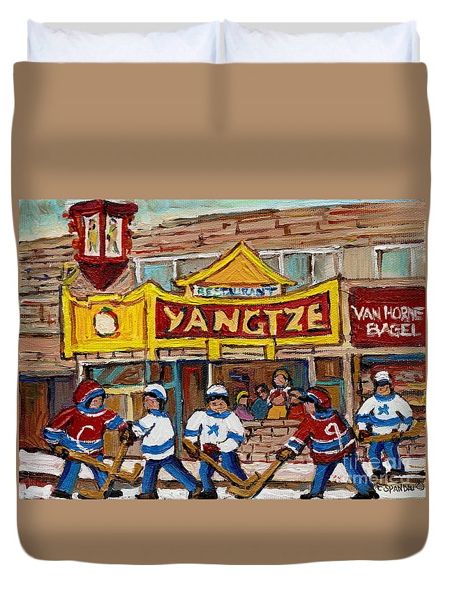 Montreal Duvet Cover featuring the painting Yangtze Restaurant With Van Horne Bagel And Hockey by Carole Spandau