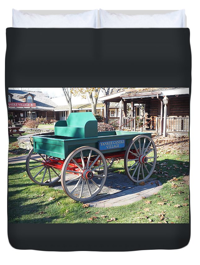 Cart Duvet Cover featuring the photograph Yankee Candle Cart by Mark Ball