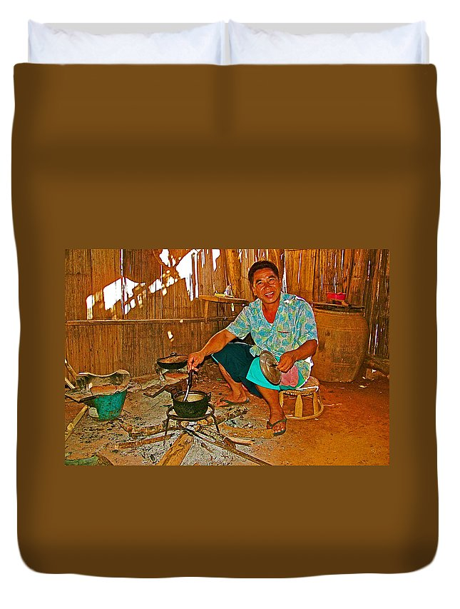Yao Mien Tribe Man In His Home With His Cooking Pot North Of Chiang Rai In Mae Salong Duvet Cover featuring the photograph Yao Mien Tribe Man In His Home With His Cooking Pot North Of Chiang Rai In Mae Salong-thailand by Ruth Hager